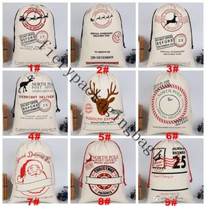 Xmas Gifts Drawstring Canvas Santa Sacks Christmas Large Canvas Monogrammable Santa Claus Drawstring Bag with Reindeers D1