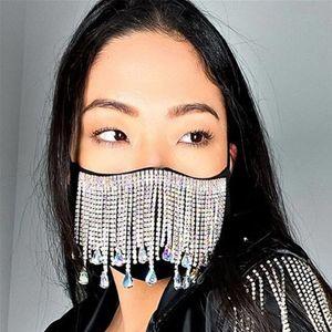 Bling Bling Rhinestone face mask fashion crystal diamond reusable cloth face mouth cover adult nightclub designer mask DDA2855