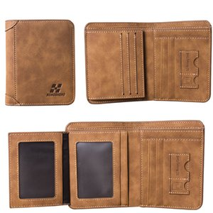 New Mens Wallet Short Frosted Leather Wallet Retro Three Fold Vertical Wallet Youth Korean Multi-card 2020 Men Fashion