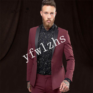 Handsome One Button Groomsmen Shawl Lapel Groom Tuxedos Mens Wedding Dress Man Jacket Blazer Prom Dinner suits (Jacket+Pants+Tie)W308