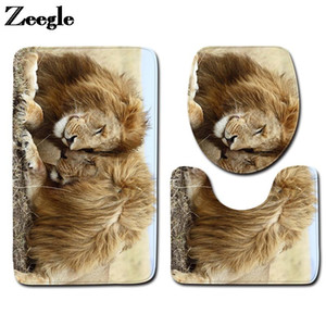 3D Lion Printed Bath Mat for Bathroom Floor Mat Home Decoration Bath Carpet Set Toilet Seat Cover Anti-Slip Foot Rug Set
