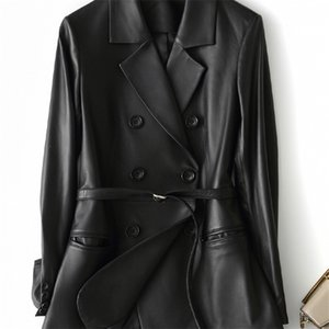 Nerazzurri Black faux blazer long sleeve belt Plus size leather jacket women 5xl New arrivals womens clothing Y201012