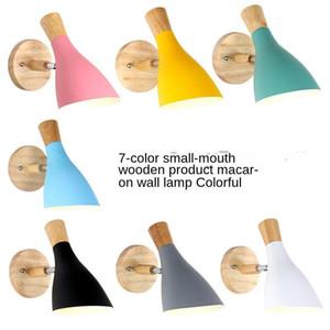 Macaron madeira maciça Quarto Wall Lamp Modern Background Simples Wall Lamp Sala criativa Aisle cabeceira