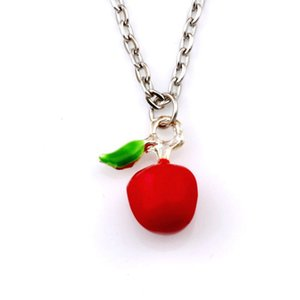 35pcs  lots Europe and America Red Enamel Apple Alloy Charm Pendant Necklaces 23.6inches 14x18mm Pendant A-523d
