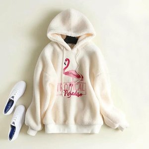 Womens Fluffy Lambwool Fleece Winter Coat Sweatshirt Thick Plush Pink Flamingo Embroid Warm Hoodie Pullover Hooded White Outfit