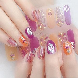14tips sheet Professional Nail Wraps Designer Stickers Full Cover UV Gel Polish Multi Color Beauty Manicure Accessories Tools