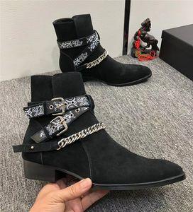 2019 New Designer Men Martin Boots Masculina Moda Cadena Cadena Personalidad Punto Frosted Cuero Vaquero Rhubarb Boots.37-45