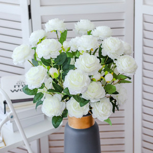 Simulation pivoine artificielle fleur maison mariée belle décoration fausse fleur plastique pivoine fleur européen européen pivoine à trois têtes DHF3513