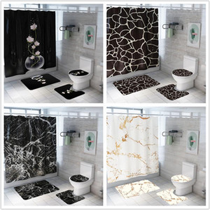 Shower Curtain Creative Fashion Marble Printing Bathroom Waterproof 4 Pieces Pedestal Rug Lid Carpet Toilet Cover Bath Mat Set1