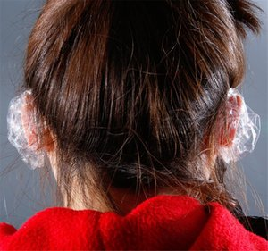100pcs bag One-off Earmuffs disposable OPP Clear Ear Cover Hair Dye Shield Protect Salon Color