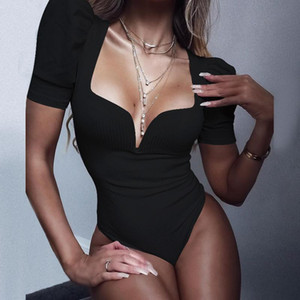 Spring Summer Sexy Black Bodysuits Skinny V-neck Short Puff Sleeve Bodysuit Women Shirt 2020 Fashion Body Mujer Jumpsuits