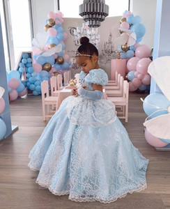 Crystals Lace 2020 Flower Girl Dresses Ball Gown Short Sleeves Little Girl Wedding Dresses Cheap Communion Pageant Dresses Gowns ZJ710