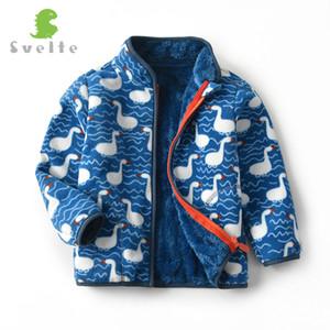 2-12 стройных Дети флис печатных курток мальчиков подкладка шерсть Faux Heavyweight пальто для зимы