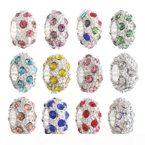 Fashion DIY Crystal Beads Silver Round CZ Diamond Charm Beads Fit Original Bracelet 12 colors Crystal Silver Beads