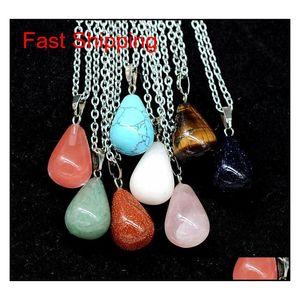 Heart Hexagonal Prism Turquoise Opal Natural Quartz Crystal Healing Chakra Stone Pendant Necklace Jewelry For Women jllhQb bdesybag