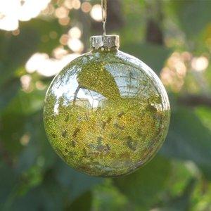 100pcs pack Diameter=8cm Small Size Yellow Bead Inner Sticking Glass Globe Home Decoration Christmas Day Decorative Ball Pendant