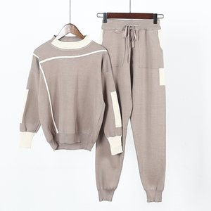 Amolapha Women Knitted Sweaters Pants 2PCS Track Suits Woman Casual Knitted Trousers+Jumper Tops Clothing Sets Vestidos 201119