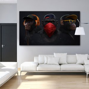 Glasses Headphone Music Monkey Large Oil Painting on Canvas Posters and Prints Cuadros Wall Art Pictures For Living Room