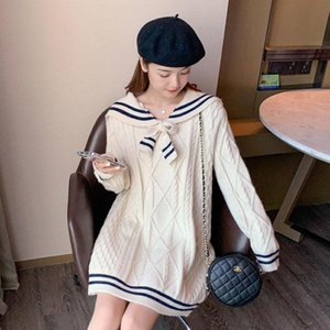 Japanese Style Sweater Women 's Loose Outer Wear Mid-Length Sailor Collar JK Knitwear Autumn and Winter Fashionable Dress