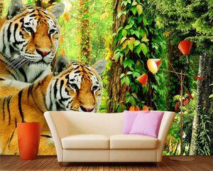3d Animal Wallpaper Jungle Mural 3d Wallpaper Fierce Forest Tiger Custom 3D Photo Wallpaper Home Decor