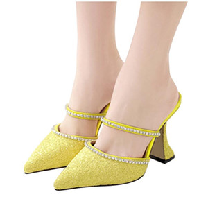 Lady sandals Pure Color Fashion Breathable Pointed woman Toe Sandals Light Slippers shoes woman mid heel#