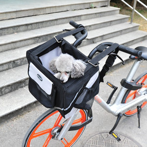 Luxury Durable Pet Bicycle Basket Carrier Bicycle Dog Leash Car Foldable Transport Bag Carrying Travel Seat For Puppy Cat Animal Y1127