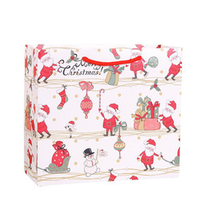 8pcs lot Christmas White Paper Bag with Handle Wedding Party Bag Fashionable Santa Claus Gift Paper Bags 3size Multifunction