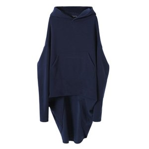 Autumn Winter Hoodies Womens Long Sleeve Irregular European American Style Blue Loose Fashion Pullover Chic Oversized Clothes