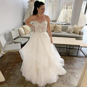 Romantic Illusion Bodice A Line Wedding Dresses Sweetheart Appliques Bead Bridal Gowns Tiered Tulle Skirt Bridal Dress Custom P144