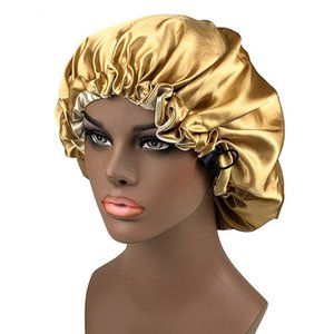 Oversized Plain Satin Bonnet For Women 2 Layers Head Wrap Bonnet Nightcap Satin Cheveux Nuit Hair-Waving Cap Hair Accessories