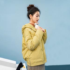 INMAN 2020 Winter New Arrivals Hoodies Drawstring Zip Stangding Collar Short Coat Bread Jacket Women's Down Jacket Z1202