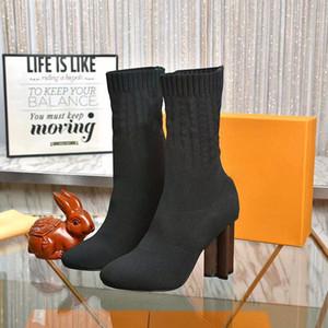 2021 Novas meias botas outono inverno mulheres sapatos de malha elástica botas sexy letra martin botas grossas saltos mulheres sapatos de salto hige com caixa