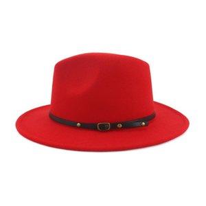 Fashion Black Red Patchwork Wool Felt Jazz Fedora Hats Belt Buckle Decor Women Unisex Wide Brim Party Trilby Cowboy Cap