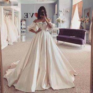 Vestido de Novia Boho Brautkleider Halbhülsen Schatz aus der Schulter Satin Ballkleid Brautkleider 2021 Brautkleid