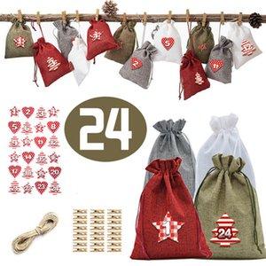Yılbaşı Advent Takvim Çanta Set 24 Gün Çuval Hediye İpli Çanta DIY Noel Dekorasyon Klipleri ile JK2011XB
