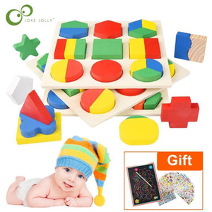 Wooden Geometric Shapes Montessori Puzzle Sorting Math Bricks Learning Educational Game Baby Toddler Toys For Children Gyh jllztL ly_bags