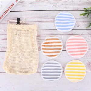 5PCS Discharge Makeup Pad with Drawstring Bag Makeup Remover Pad Double-sided Printed Cleaning Pads Reuseble Facial Clean