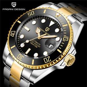 Pagani2019 дизайн бренда роскошные мужские часы автоматические черные часы мужчины из нержавеющей стали водонепроницаемый деловой спорт механический T200311