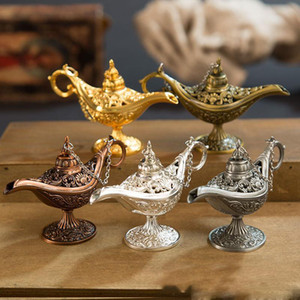 Mükemmel Peri Tale Aladdin Sihirli Lamba Tütsü Brülör Vintage Retro Çay Pot Genie Lamba Aroma Taş Ev Süs Metal Zanaat DHL
