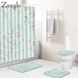 Zeegle 4PCS Bath Mat Set Shower Curtain Toilet Cover Seat Mat Non-slip Toilet Pedestal Rug Bathroom Doormat Bathroom Curtain Set