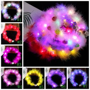 LED Tüy Hairband Işık Ebedi Garland Işık Up Saç Çelenk Noel Parlayan Çelenk Parti Çiçek Kafa Dekorasyon GGA3844-2