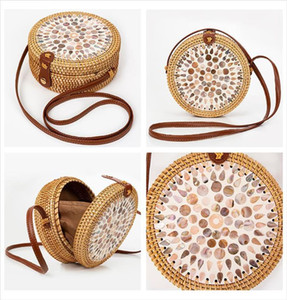 Hot Sale Straw Bag Beach Handbags Rattan Shoulder Bag Round Women Summer Handmade Messenger Crossbody Bags Bali Colorful Shell Ladies
