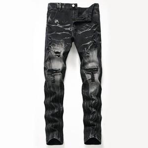 Mens Jeans Hip Hop Streetwear Punk Slim Black Skinny Ripped Biker Zipper Jogging Casual Pencil Long Denim Pants New Denim Pants