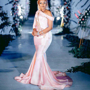 Pink One Shoulder Long Sleeves 2021 Arabic Aso Ebi Mermaid Prom Dress Formal Party Second Reception Gowns Girl Party Wear