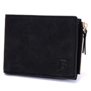 Casual Short Mens Wallet Solid Color Purse Coin Zipper Pocket PU Bifold Wallets Money Clip Clutch Wallets