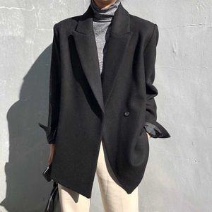 HziriP Notched Vintage Minimalist Woolen Blazer Jacket New Autumn Winter Tops Quilted Thick Women Blazers Loose Suit Coat