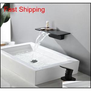 Waterfall Faucet Matte Black Wall Mounted Bathroom Bathtub Faucet Large Shelf Platform Basin Water M jllgAr sinabag