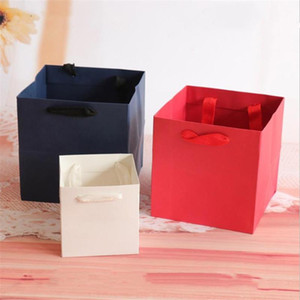 20pcs White Black Kraft Red Color Paper Gift Bag With Handle Square Potted Flowers Paper Box Packaging