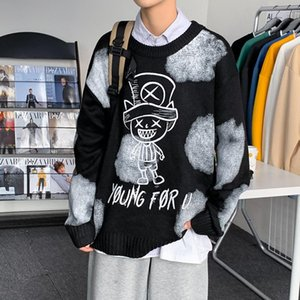 ZAZOMDE Autumn Thickened Cartoons Sweater Men Korean Trendy Students Handsome Sweater Ins Fashion Label Loose Clothes Oversized