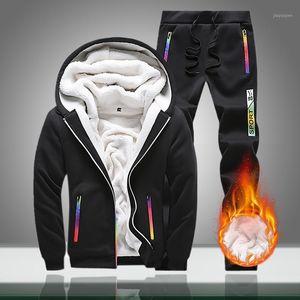 Erkek Eşofman 2021 Kış Erkek Sıcak Polar Rahat Kapüşonlu Setleri Erkek Kalın Fermuar Spor Takım Elbise Ceketler + Pantolon 2PC Conjunto Masculino1